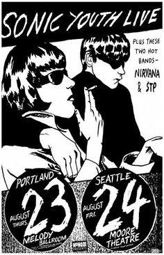 Sonic Youth with Nirvana and STP Music Poster 11x17                                                                                                                                                                                 More