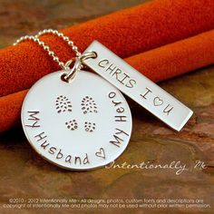Hand Stamped Jewelry - Sterling Silver Personalized Custom Necklace- My Husband, My Hero (Ideal for Military wives)