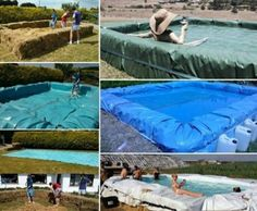The Homestead Survival   How to Build a Hay Bale Tarp Soaking Water Pool   DIY Project http://thehomesteadsurvival.com