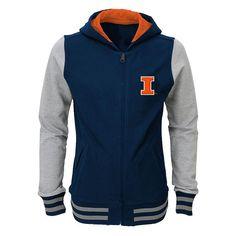 Girls 4-6x Illinois Fighting Illini Varsity Hoodie Jacket, Girl's, Size: M(5/6), Multicolor