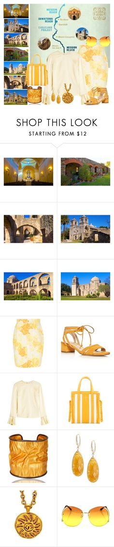"""""""Mission Tour, San Antonio"""" by christined1960 ❤ liked on Polyvore featuring Versace, Via Spiga, Roksanda, Balenciaga, Carousel Jewels, Saks Fifth Avenue and Chanel"""
