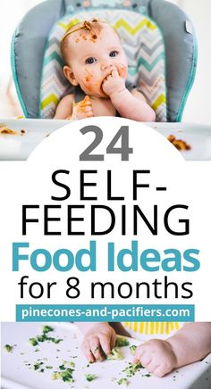 24 baby self-feeding food ideas for your 8 month old. Great first food ideas for older babies or young toddlers who are starting to self-feed. Baby Led Weaning Breakfast, Baby Led Weaning First Foods, Baby Breakfast, Baby First Foods, Baby Weaning, Baby Foods, 8 Month Old Baby Food, Baby Food 8 Months, Baby Month By Month
