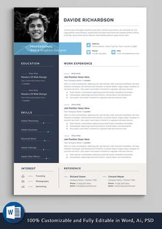 2 Page Professional & Modern Resume/cv template to help you land that great job. The flexible page designs are easy to use and customize, so you can quickly tailor-make your resume for any…More Cv Words, Resume Words, Resume Cv, Cv Resume Sample, Resume Photo, Best Resume Format, Basic Resume, Resume Layout, Cv Format