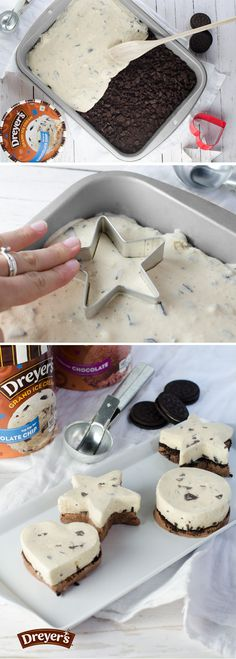 Delicious mini ice cream cakes-spread a layer of Chocolate ice cream in a small pan and top with crumbled cookies and a layer of Chocolate chip ice cream, re-freeze, and use fun-shaped cookie cutters to dish out individual cakes! Ice Cream Desserts, Frozen Desserts, Frozen Treats, Just Desserts, Dessert Recipes, Dessert Healthy, Oreo Dessert, Dessert Bars, Yummy Treats