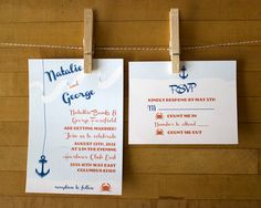 Custom Wedding Invitation  nautical design with anchor by 26Sorts, $3.75