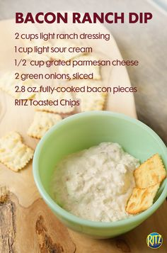This bacon ranch dip uses sour cream, ranch dressing, parmesan cheese and bacon for a delicious mix of flavors. Serve with RITZ Toasted Chips for a great party dish. Ritz Cracker Recipes, Cracker Dip, Appetizer Ideas, Appetizers, New Recipes, Holiday Recipes, Bacon Ranch Dip, Sour Cream Dip, Cooking Sauces