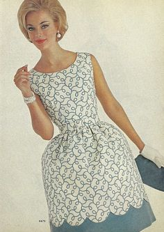 1960s fashion vintage dress blue cocktail full skirt white scallop