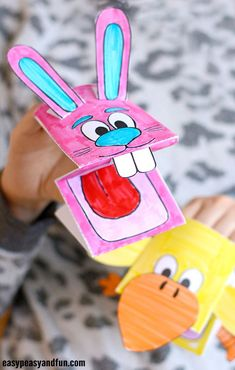 Printable Bunny and Chick Puppets Craft Bible Crafts, Crafts To Do, Crafts For Kids, Children Crafts, Easter Arts And Crafts, Puppet Crafts, Craft Activities For Kids, Recycled Crafts, Puppets