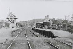 Teralba Railway Station in New South Wales in 1910.Signal station on left.Facing southbound,before pedestrian overbridge was built.Footrack visible over rails. •Lake Macquarie City Library•