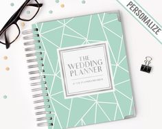 The Wedding Planner | Keepsake Binder and Journal | Custom Monogram and Names Gold SIlver | Mint Geometric Simple | Wedding Planning Gift by NotablePlanners from Notable Planners by The Planner Emporium. Customizable wedding planners and momento books. Find it now at http://ift.tt/2cWdfCy!