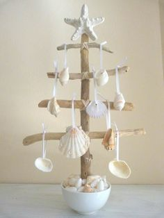 Driftwood Tree with Shell Decorations