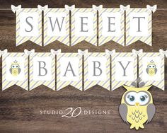Instant Download Yellow Owl Baby Shower Banner, Yellow Grey Baby Bunting Banner, Printable Baby Bunting Flags, Yellow Owl Banner 23G