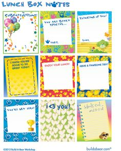 Printable lunchbox notes for your little ones!