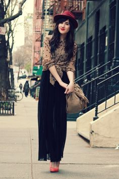 maxi skirt and polka dots- via Flashes of Style