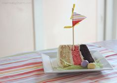Great Idea! Neopolitan birthday cake with cute fabric pennant tutorial.