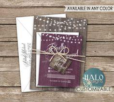 Rustic Wedding Invitations Navy by HALOdesignsSHOP on Etsy
