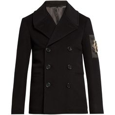 Alexander McQueen Embellished wool and cashmere-blend pea coat (12995 MAD) ❤ liked on Polyvore featuring men's fashion, men's clothing, men's outerwear, men's coats, black, peacoat coat, wool pea coat, pea coat, alexander mcqueen and embellished coat