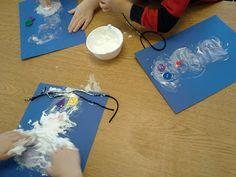 Puffy paint snowmen winter art