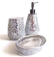 1000 images about bathroom on pinterest crackle glass for Silver crackle glass bathroom accessories