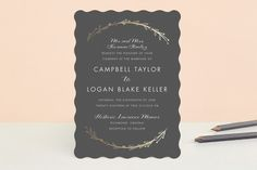 """""""Mulberry"""" - Simple, Rustic Foil-pressed Wedding Invitations in Charcoal by carly reed walker."""