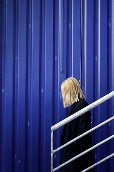Valerie Kaczynski - graphic minimal fashion photography stairs blue