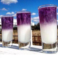 TRAP QUEEN SHOT White Layer:1 oz (30ml) Piña Colada Mix1 oz (30ml) Alizé Coco Peach1 oz (30ml) Peach Rum Purple Layer: Viniq Original