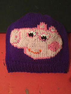 NL crafts: peppa pig hat Peppa Pig, Beanie, Purple, Hats, Red, Hat, Beanies, Viola, Hipster Hat