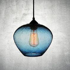 Luminosa Rustica glass lamp in blue Interior Lighting, Lighting Design, How To Make Light, Color Azul, Contemporary Interior, Pendant Lamp, Ceiling Lights, Antiques, Glass