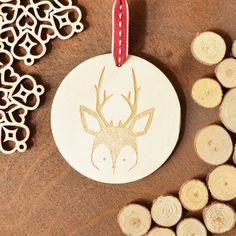 Christmas Decoration - Deer Ornament, Wood Deer Christmas, Deer Decor by MishiuFerris on Etsy
