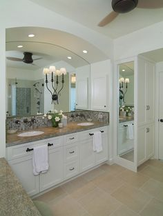 love the built in mirror idea beside sink/dressing area also like the way the made the sinks into a built in alcove...good idea for master