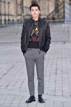 Sehun from EXO, a Korean boyband on Louis Vuitton Runway