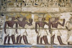 Ancient Egyptian Priests painting, Medinet Habu temple, Luxor