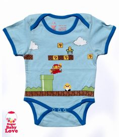 baby super mario onesie by SugarBabyLove on Etsy, $17.00  Gift from my brother for his only nephew. :) Hopefully.