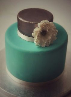 Silver and turquoise chocolate cake