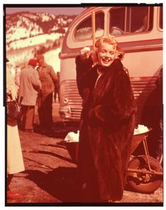with a snowball in her hand on the set of Bus Stop, 1956