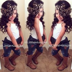 This would be perfect for char. Hipster jeans. Big leopard scarf bow and tee