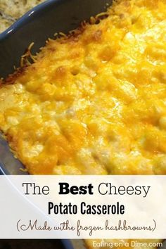 This Cheesy Potato Casserole is really the best casserole for any family gathering including Thanksgiving and Christmas. Plus, it is made with frozen hashbrowns, so it is super easy to make!