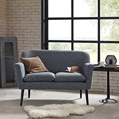 Madison Park Davenport Rolled Arm Settee Charcoal W5025 x D30 x H3475
