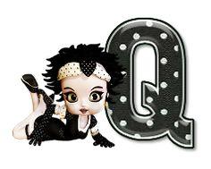 Alfabeto de Betty Boop con letras negras con lunares blancos.   Oh my Alfabetos!