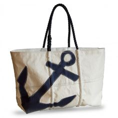Large Navy Anchor Tote with Navy Rope Handles and Zipper Top