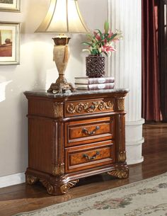 Royal Cherry Genuine Marble Top Detailed Carved Designs Night Stand