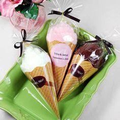 ice cream cone towel favors.