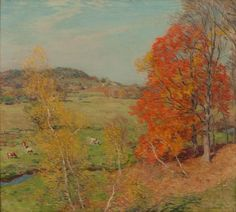 """""""The Red Maple,"""" Willard Metcalf, 1920, oil on canvas, 26 x 29"""", Arkell Hall Foundation."""