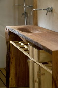 Wood Sink at Friend House Hotel by Ryntovt Design Rustic Furniture, Furniture Design, Wood Sink, Wood Counter, Wood Architecture, Wooden Bathroom, Eco Bathroom, Bathroom Basin, Bathroom Vanities