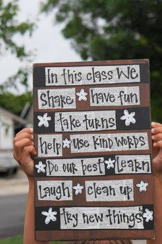 I want this! It would be so cute in my classroom.  (class rules...in this class...teacher...wood sign)