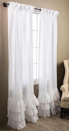 Kimberly Ruffled Curtains - home inspiration - Ruffle Curtains, Home Curtains, Curtains Living, Farmhouse Curtains, Country Curtains, Rideaux Country, Bedroom Green, Bedroom Decor, Cortinas Country