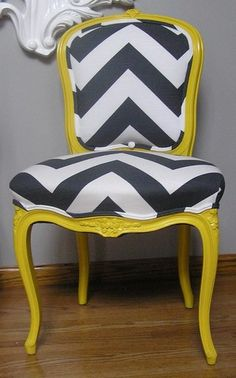 Yellow And Charcoal Chevron French Provincial Side Chair By Upcycled Home - eclectic - chairs - Etsy