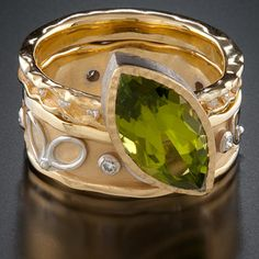 Rings, 18k yellow gold, 14k white gold, peridot, diamonds Ann Marie Cianciolo