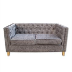 York Slate Grey Buttoned Two Seater Sofa – Glam Home Store