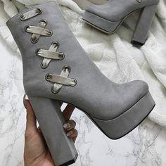 Velvet Platform Chunky Heel Booties